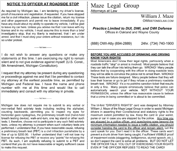 graphic about Miranda Warning Card Printable identified as William Mazes Michigan DUI Legal rights Card